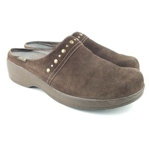 Mephisto Air-Relax Brown Suede Clogs with Studded
